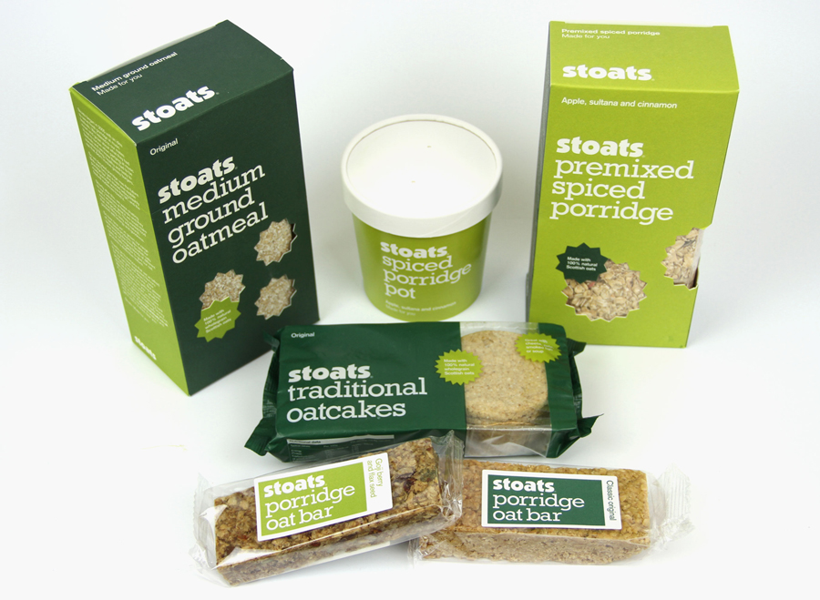 Original packaging for Stoats porridge range