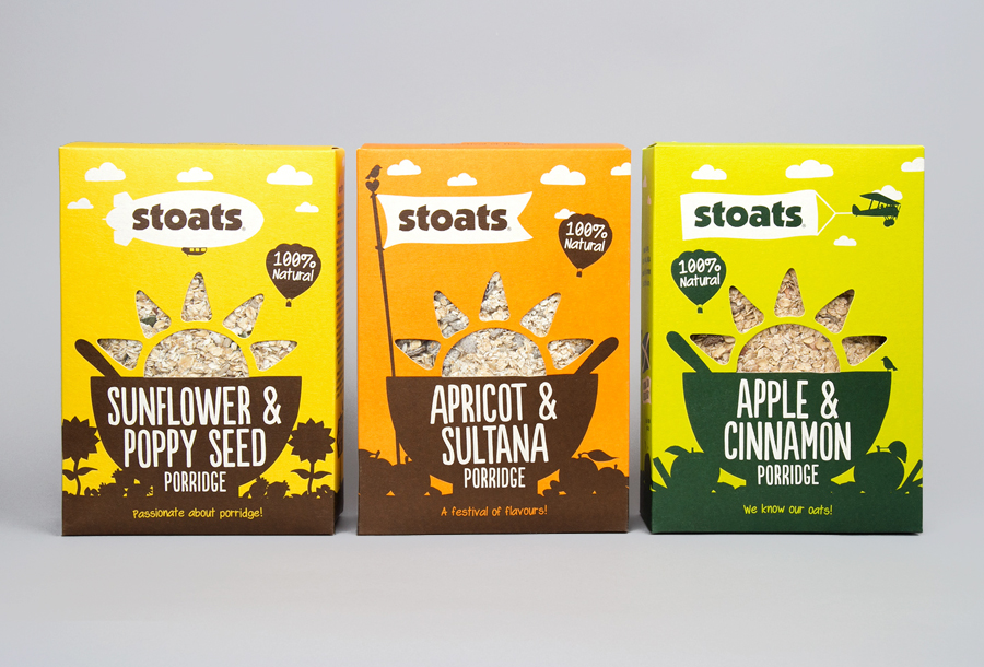 Packaging for Stoats porridge range designed by Robot Food