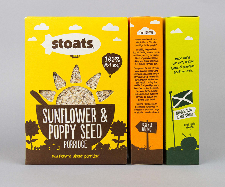 Stoats Porridge Packaging designed by Robot Food