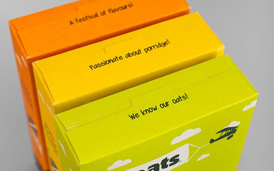 Packaging for Stoats porridge range designed by Robot Food