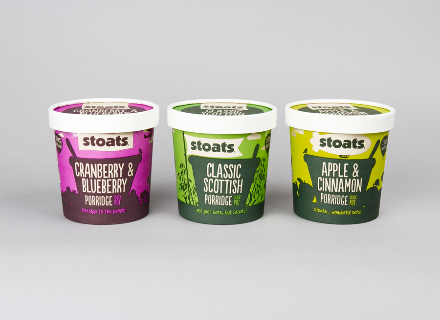 Stoats Porridge Packaging designed by Robot Food