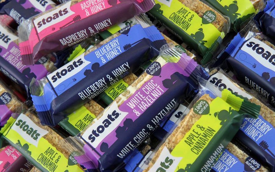 Packaging for Stoats porridge bars designed by Robot Food