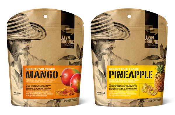 Packaging with unbleached paper, halftone photo and sticker detail designed by Subplot for Level Ground's Fruit and Sugar Range