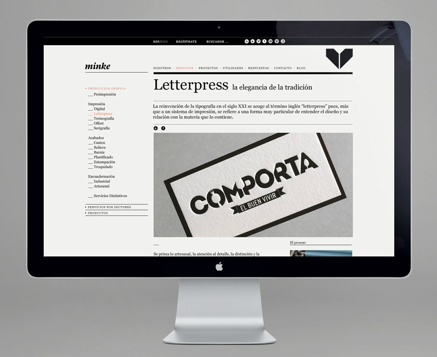 Website design by Atipo for Spanish production studio Minke
