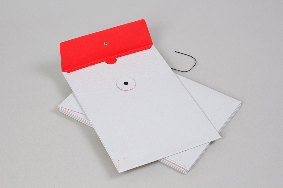 Envelope with bright red spot colour interior and white ink detail for print production company Generation Press designed by Build