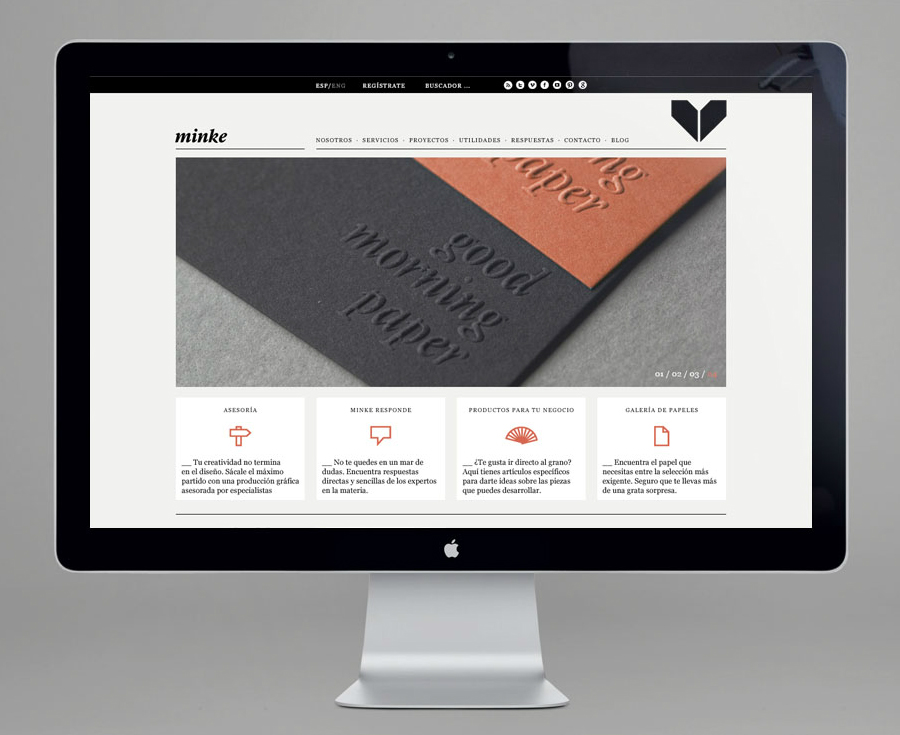 Website design by Atipo for Spanish production studio Minke