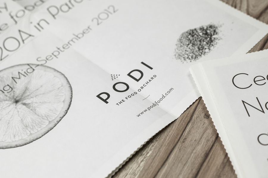 Print designed by Bravo Company for Singapore-based organic restaurant Podi