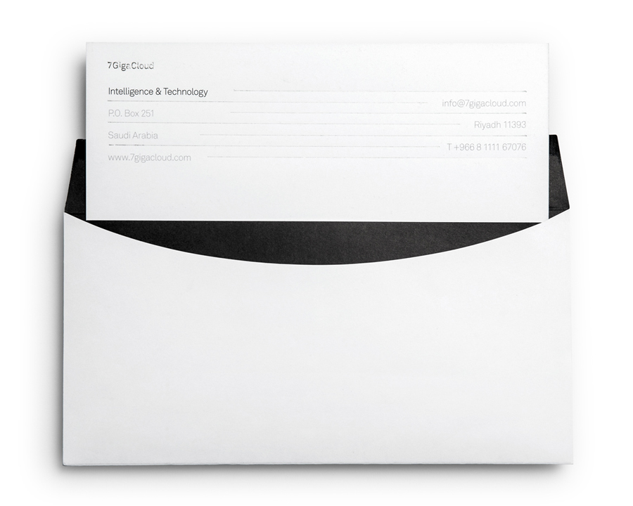 Logo and envelope with silver foil detail designed by Face for Saudi Arabian IT consultancy 7GigaCloud