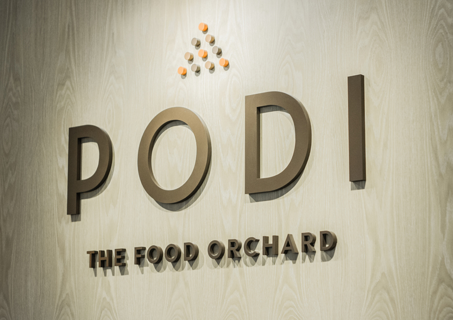 Sign designed by Bravo Company for Singapore-based organic restaurant Podi