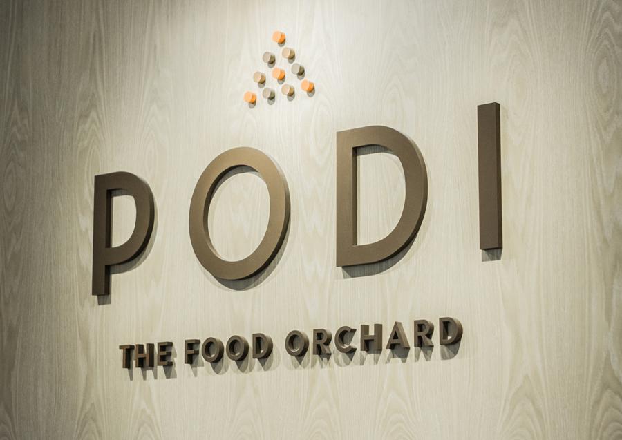 Sign designed by Bravo Company for Singapore-based organic restaurant Podi