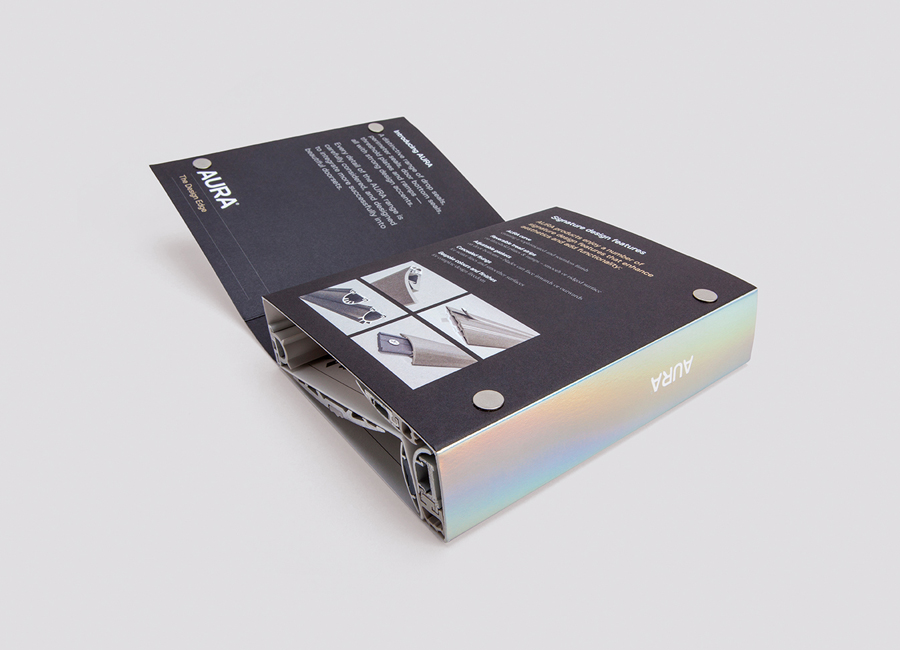 Sample book with holographic detail designed by Believe In for Lorient's door sealing system Aura