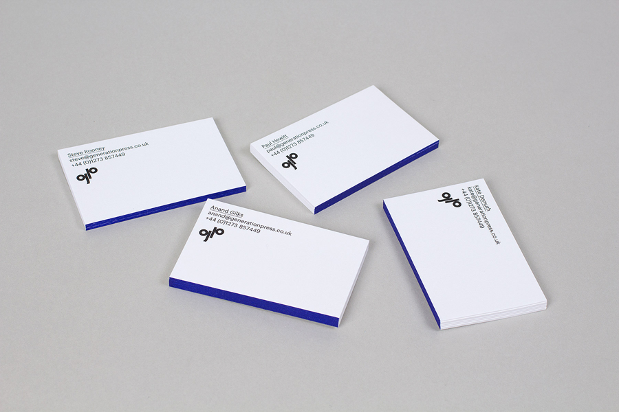 Business cards with blue edge painted detail for print production company Generation Press designed by Build