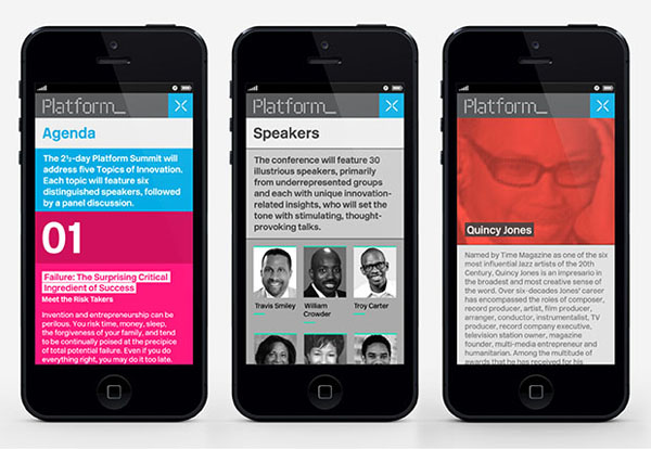 Logo and mobile website designed by Pentagram for not-for-profit, technology and entrepreneurship organisation Platform