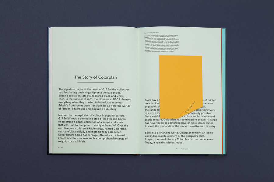 History and sample book designed by Made Thought for British paper merchant G . F Smith