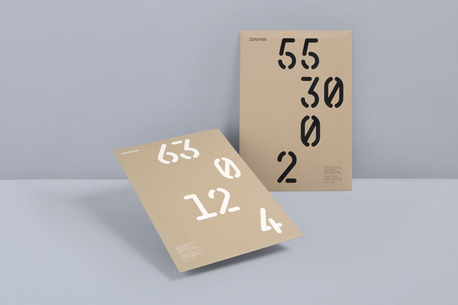 Print with white and black ink detail across an unbleached paper for print production studio Cerovski designed by Bunch