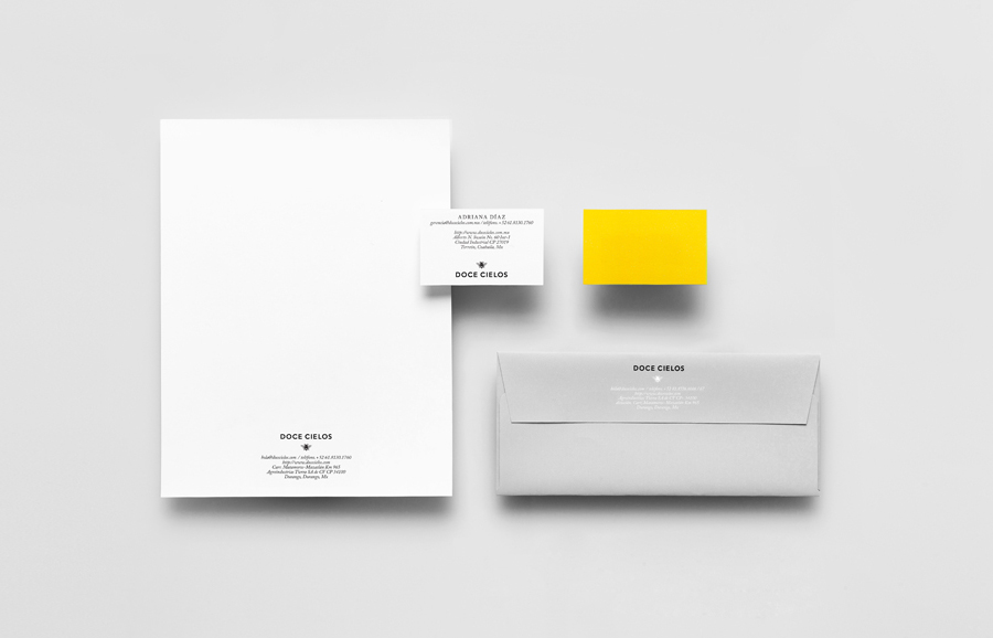 Logo and stationery for traditional crafted honey brand Doce Cielo designed by Anagrama