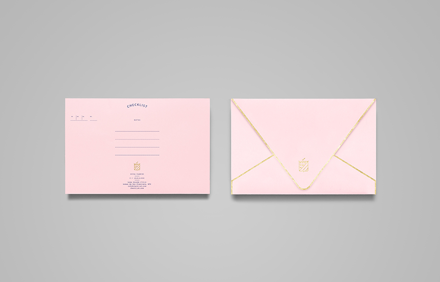 Pink envelope with gold foil detail designed by Anagrama for event panner Checklist