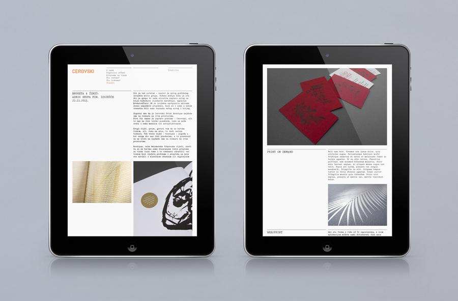 Responsive website for print production studio Cerovski designed by Bunch