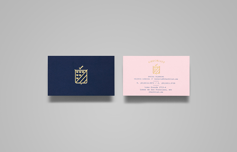 Logo and business cards with gold foil detail designed by Anagrama for event panner Checklist