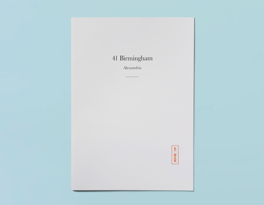 Brochure designed by Naughtyfish for 41 Birmingham, a boutique apartment development situated in Sydney's Alexandria district.