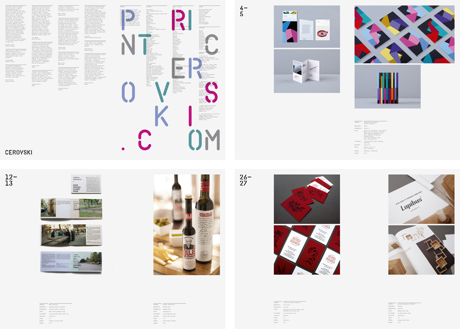 Brochure spread for print production studio Cerovski designed by Bunch