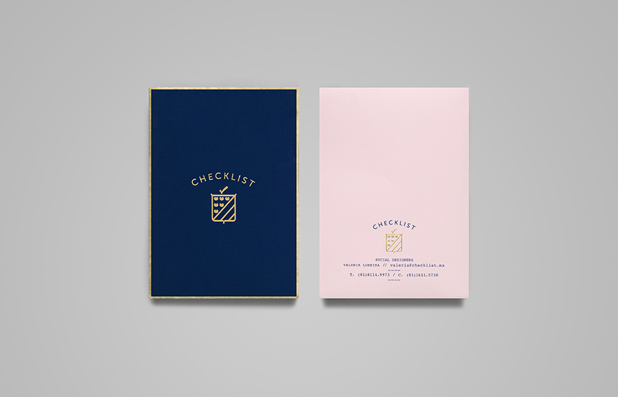 Pamphlet with blue and pink pastel coloured paper and gold foil detail designed by Anagrama for event panner Checklist