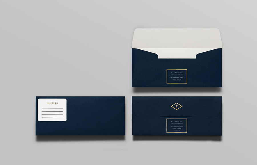 Envelope with gold foil detail for British multinational venture capital firm Tourean designed by Anagrama