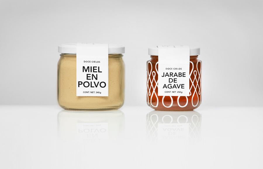 Packaging for traditional crafted honey brand Doce Cielo designed by Anagrama