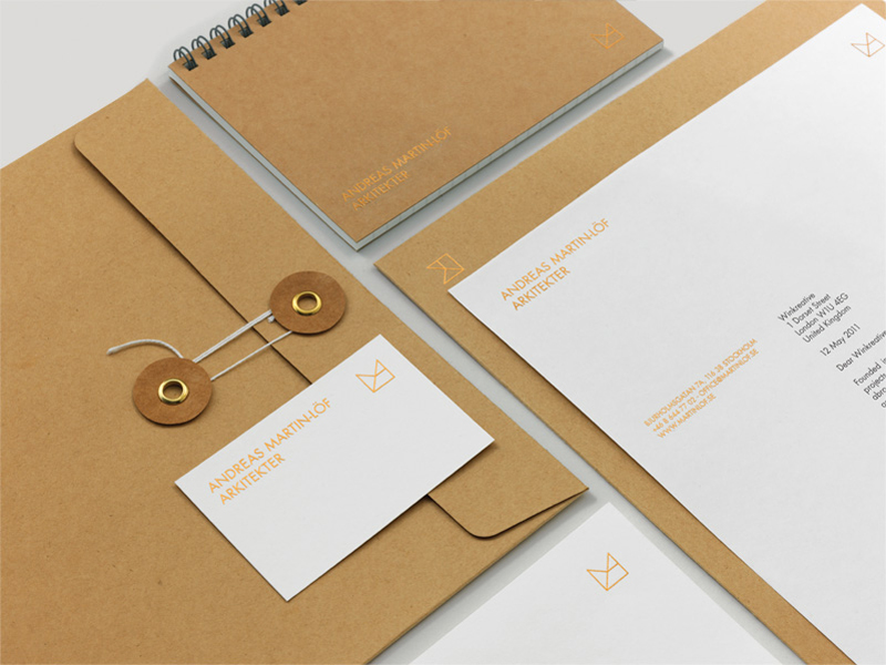 Logo and stationery with gold foil detail across an unbleached substrate designed by Wink for architectural, product and furniture design firm Andreas Martin-Löf