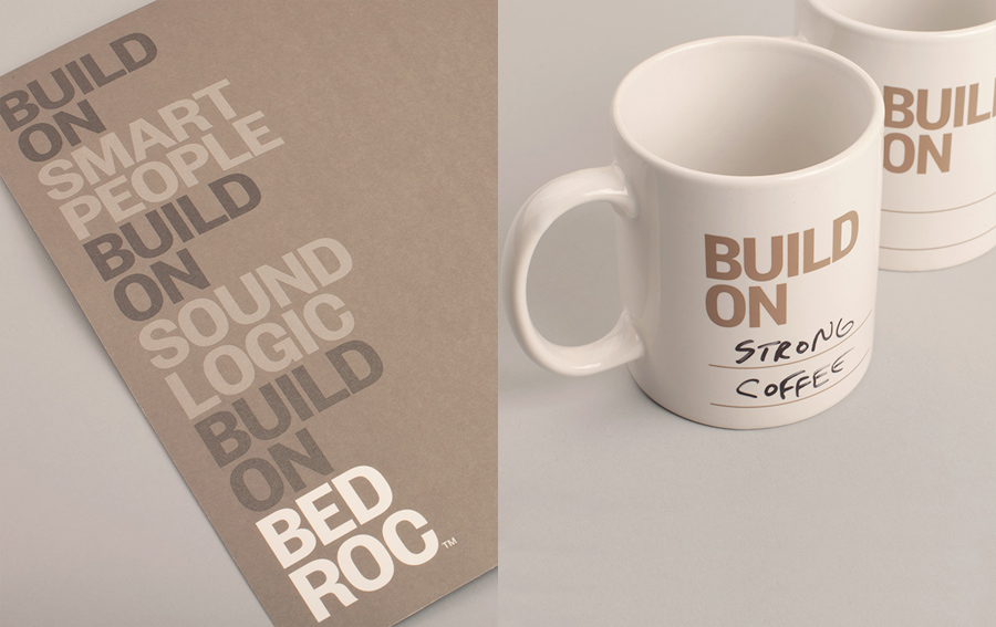 Coffee cup with hand written detail and print for technological consultancy firm Bed Roc designed by Perky Bros