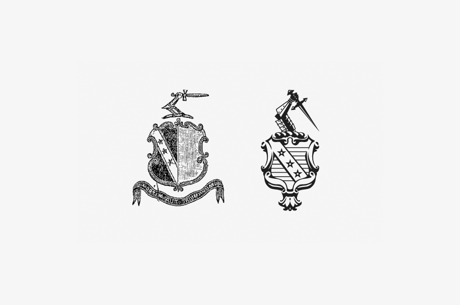 Old coat of arms redrawn by Wash for the Clifton Arms Hotel