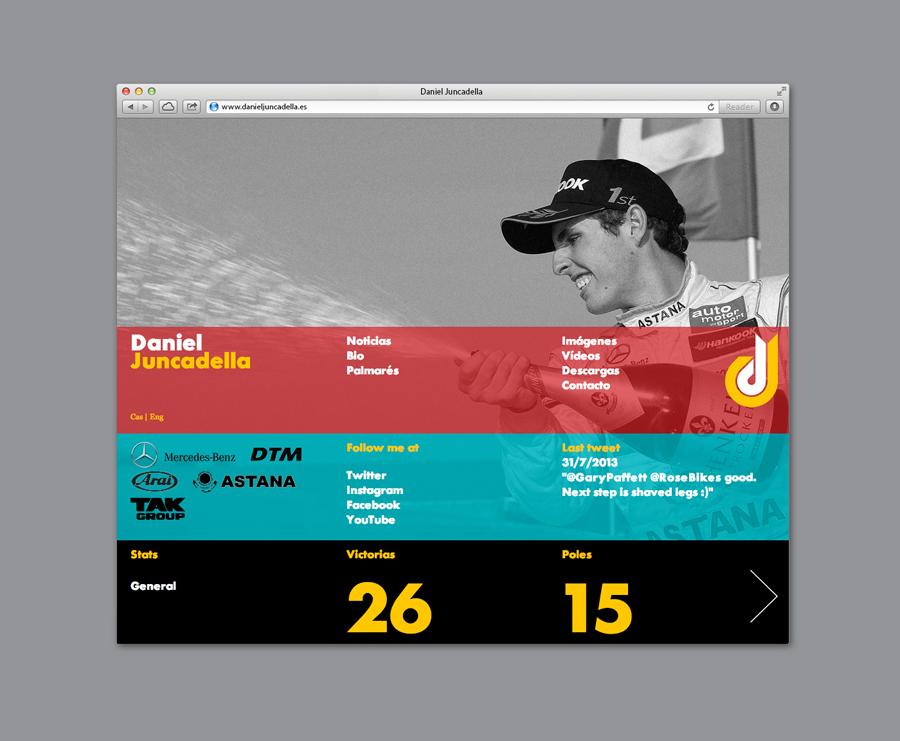 Website for Mercedes F1 test driver Daniel Juncadella designed by Mucho