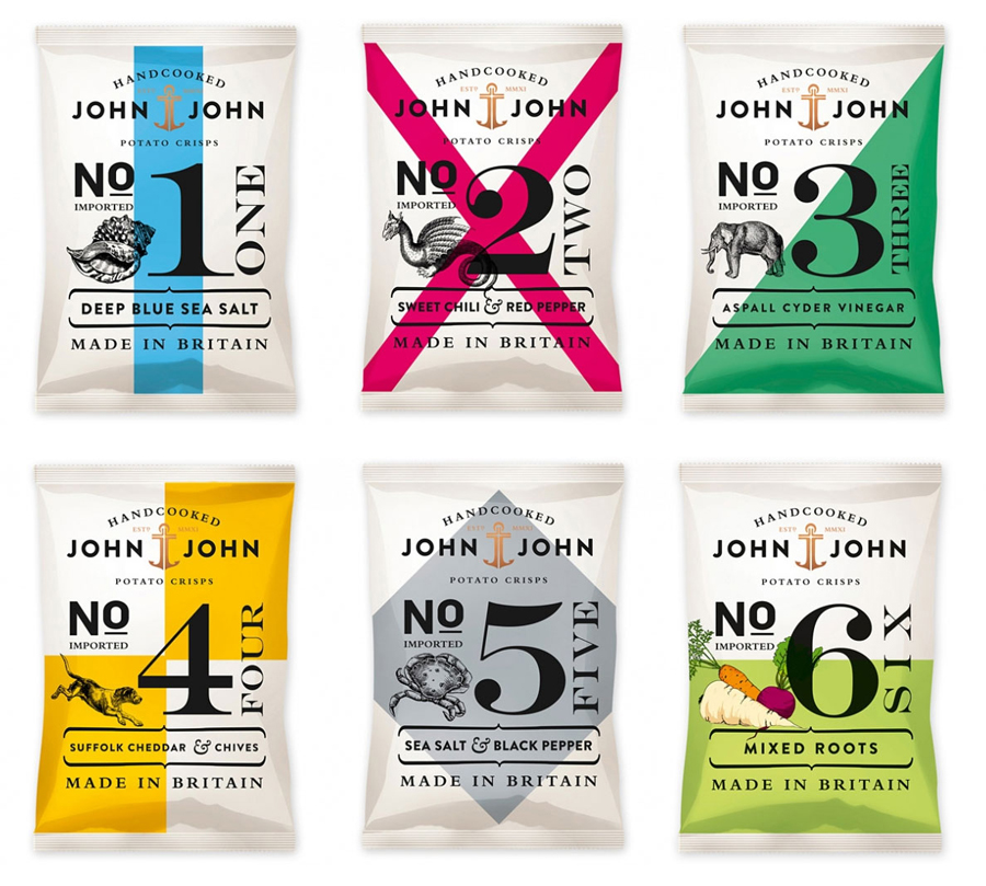 Packaging with typographic and illustrative detail for Market Grounds' hand cooked potato crisp range John & John