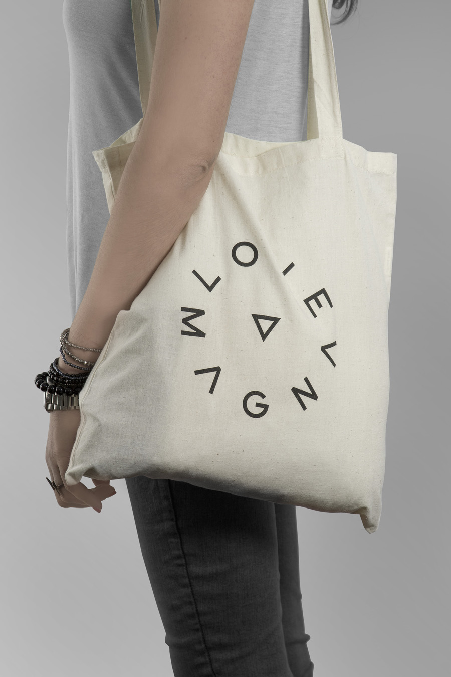 Logo and tote with screen print detail for production studio Love Magna designed by Musa WorkLabs
