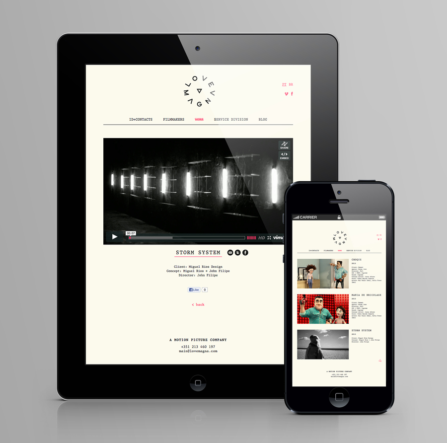 Logo and responsive website for production studio Love Magna designed by Musa WorkLabs