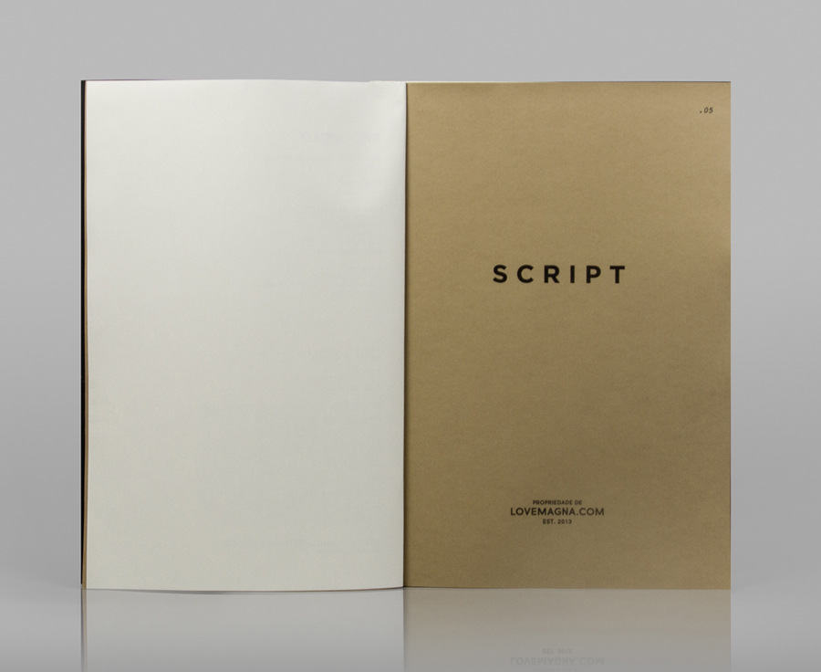 Script booklet for production studio Love Magna designed by Musa WorkLabs