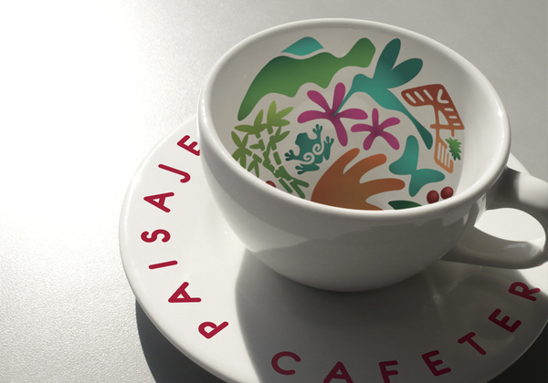 Logo and print designed by Jaime Cadavid for Colombian coffee growing organisation Paisaje Cultural Cafetero