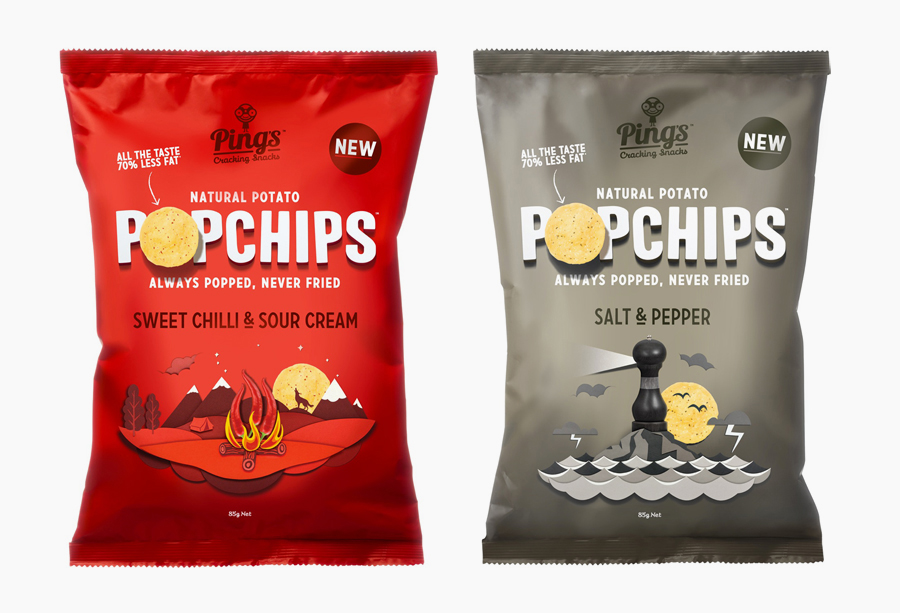 Popchips packaging with paper craft imagery designed by Marx