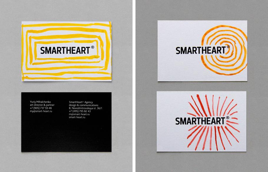 Logo and bright hand painted watercolour business card for design agency Smartheart