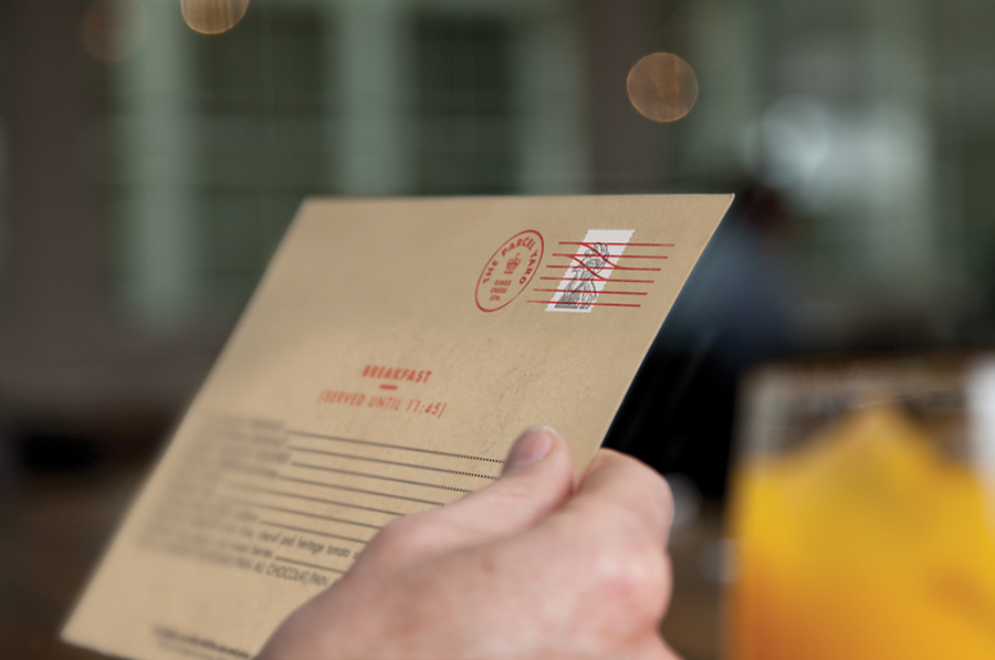 Logo and print by Designers Anonymous for Fuller's flagship Kings Cross Station pub The Parcel Yard
