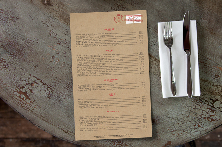 Logo and menu with illustrative stamp details by Designers Anonymous for Fuller's flagship Kings Cross Station pub The Parcel Yard