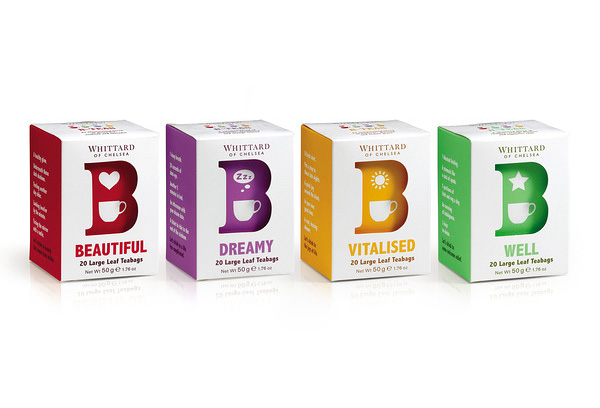 Packaging for B Tea from Whittard designed by Nick and Carole