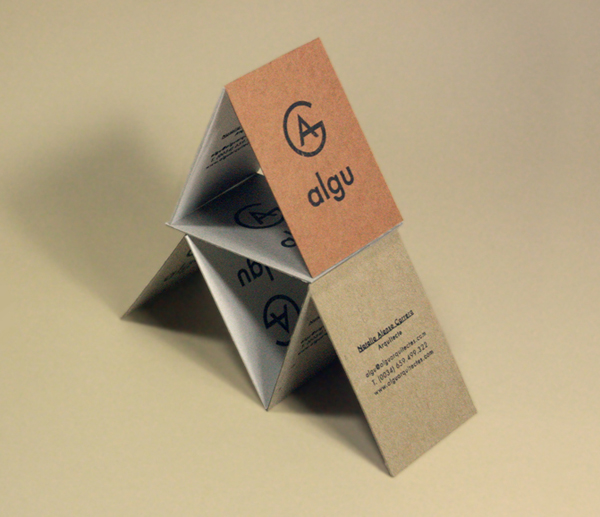 Logo and business card made from mixed fibre board designed by Francesc Moret for architecture and interior design studio Algu
