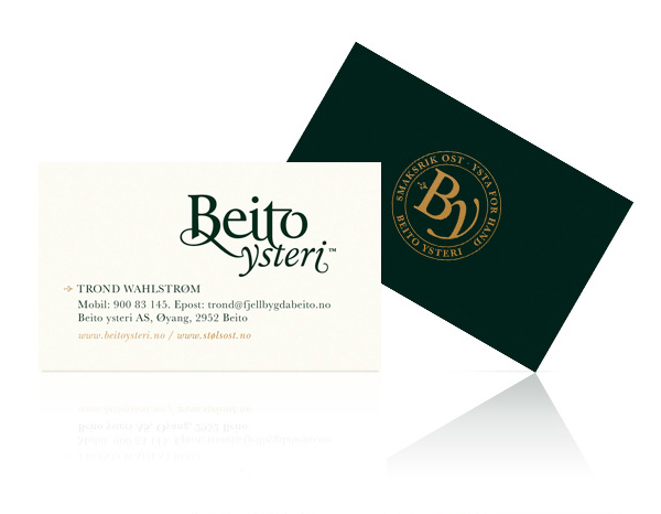Logotype and business cards created by Strømme Throndsen Design for Norwegian cheese brand Beito Ysteri