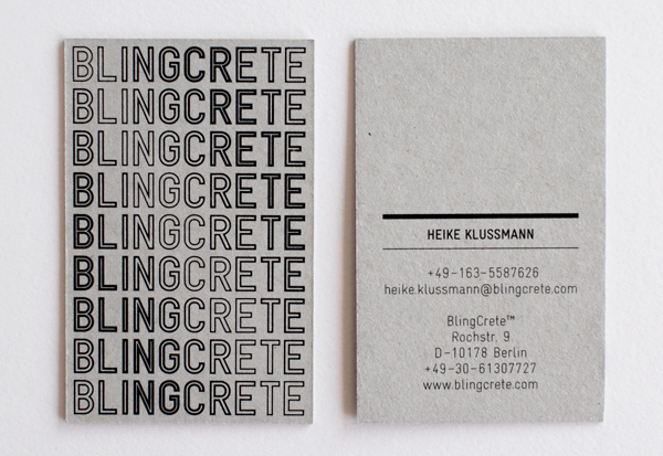 Logotype and stationery with uncoated unbleached material detail designed by Onlab for material specialist Blingcrete