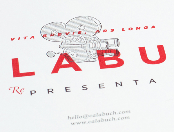 Logo-type and illustrative detail for Spanish artist management service Calabuch developed by Tres Tipos Graficos