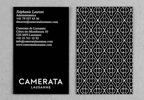 Logo and business card design by Demian Conrad Design for Camerata Lausanne