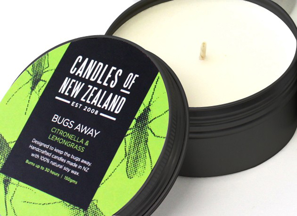 Packaging designed by Family Design Co. for handcrafted, traditionally produced candle brand Candles of New Zealand