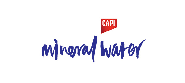 Script logotype created by CIP for premium carbonated fruit juice, mixer and mineral water brand CAPI.