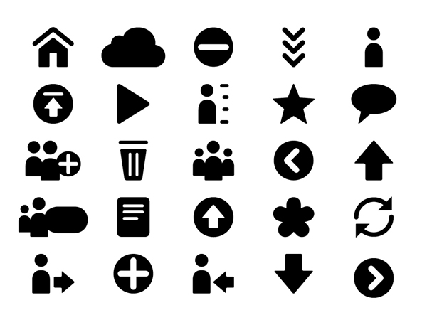 Iconography designed by Moving Brands for mobile and desktop cloud storage service CX